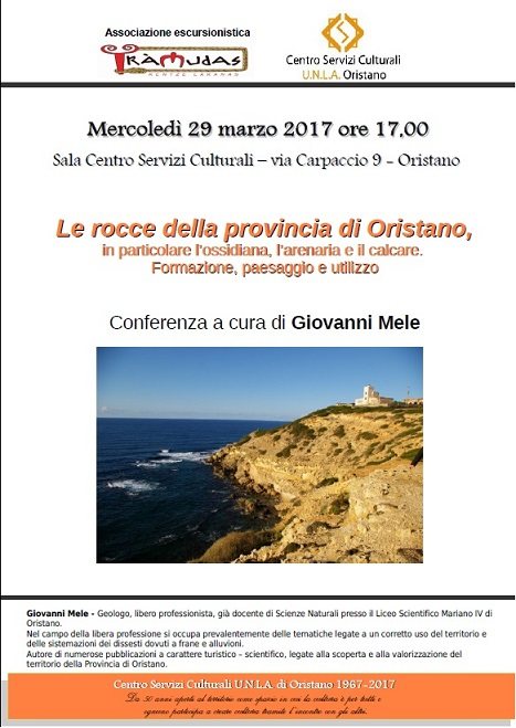 Locandina conferenza Le rocce nella provincia di Oristano