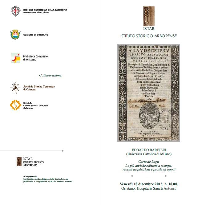 Carta de Logu - Le più antiche edizioni a stampa: recenti acquisizioni e problemi aperti