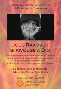 """Joss Rakover si rivolge a Dio"""